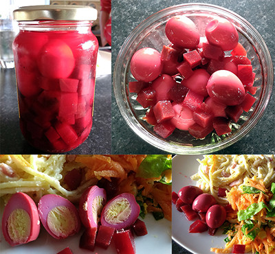 Quail eggs in beetroot marinade